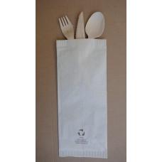 Busta porta posate Eco-Friendly con tovagliolo forchetta coltello e cucchiaio in legno - cartone da 1000 pezzi