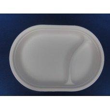 Piatti ovali biodegradabili e compostabili in cellulosa da cm 31 x 21 a 2 scomparti - pacco da 50 pezzi