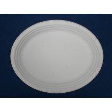 Piatti ovali biodegradabili e compostabili in cellulosa da cm 26 x 20 - Pacco da 50 pezzi