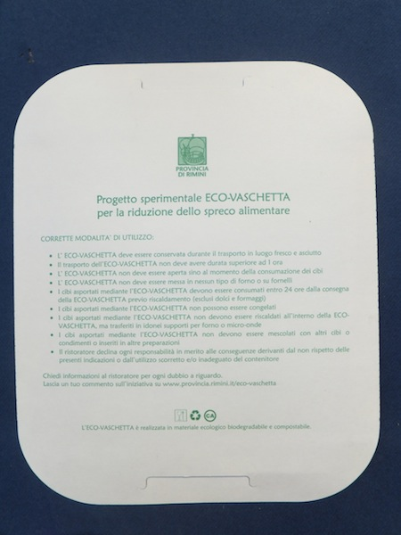 Coperchio vaschetta Biopap SI-02 Eco-vaschetta Provincia di Trento